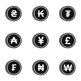 Currency icons set, simple style Royalty Free Stock Photo