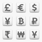 Currency icons set, web buttons. Currency icons set. World money symbols. Web buttons. Vector EPS10 Stock Images