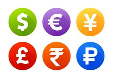 Currency icons with shadow dollar euro pound yen yuan rupee ruble. Currency flat vector symbol set. Icons with images of currencies different countries dollar Royalty Free Stock Photo