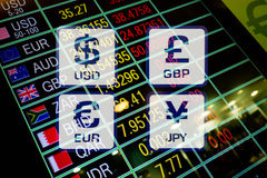 Currency icons signs and Exchange Rate on digital monitor displa Stock Photos