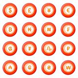 Currency icons vector set. Of red circles isolated on white background Royalty Free Stock Photography