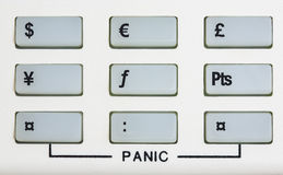 Currency keypad with panic keys Royalty Free Stock Image
