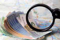 Currency on a map of Berlin. Stock Images