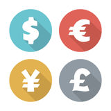 Currency modern flat icons Stock Photos