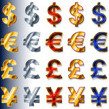 Currency monetary Sign Icon Dollar USD Euro EUR Pound GBP Yen JP Royalty Free Stock Photography