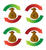 Currency money bags cycle arrow signs Royalty Free Stock Photos
