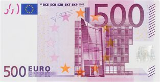 Front View Of A 500 Euros Bill stock photo