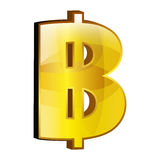 Currency money bitcoin symbol icon over white. Stock Image