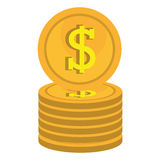 Currency money coins Isolated flat design. Coins icons isolated flat design, Business and money concept design Royalty Free Stock Photo