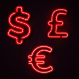 Currency neon symbols Royalty Free Stock Photos