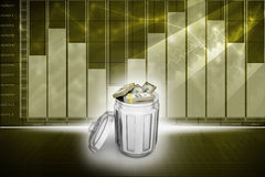 Currency note in trash bin. In color background royalty free illustration