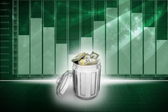 Currency note in trash bin Royalty Free Stock Image