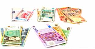 Currency notes from various countries Stock Photography