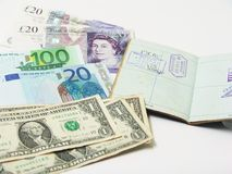 Currency and passport Stock Photos
