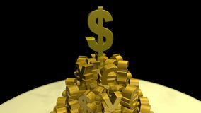 Currency pile collapsing stock footage