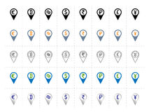 Currency pointers icons set. Map markers with currencies symbols inside. euro, dollar, pound, rupee, yen, bitcoin etc Stock Photo