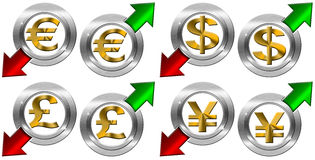 Currency with Positive and Negative Arrow. 4 currency symbols euro pound dollar yen with green and red arrows Stock Images