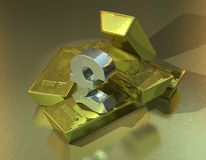 Currency Power. A silver pound sign on a stack of gold bars Royalty Free Stock Images