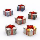 Currency Present Box with Red Ribbon Stock Photos