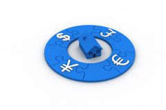 Currency puzzle Stock Photo