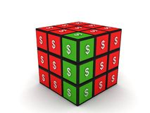 Currency puzzle cube Stock Photos