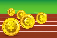 Currency Race vector illustration