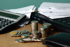 Currency and receipts for financial concept Stock Images