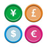 Currency round icon sets Stock Photo