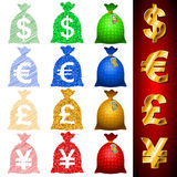 Currency Sack Dollar USD Euro EUR Pound GBP Yen JPY Royalty Free Stock Image