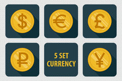 Currency set of  icons on dark background Stock Photo