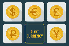 Currency set of  icons on white background. Currency set of  icons isolated on white background with long shadows Stock Photo