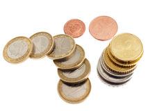 Currency. Several coins, European disposed on the table Royalty Free Stock Photos