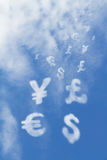 Currency shaped clouds Royalty Free Stock Images