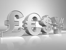Currency Sign. 3D currencies sign pound, yen, euro and dollar with reflection Stock Images
