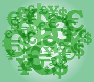 Currency sign background. Background consisting of currency sign: dollar, pound sterling, euro, yens. Without use of effect of a transparency Stock Photography