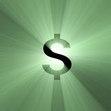 Currency sign US Dollar light flare. Dollar money symbol sign with powerful dark green light halo. Financial art graphical background Royalty Free Stock Photography
