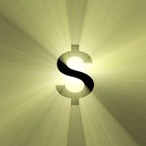 Currency sign US Dollar light flare. Dollar money symbol with powerful sun light halo. Financial art graphical background Stock Image