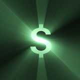 Currency sign Dollar shining light flare Stock Photography