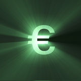 Currency sign Euro shining light flare Stock Images
