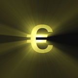Currency sign Euro bright light flare Royalty Free Stock Photos