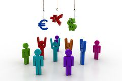 Currency sign hanging the fish hook with peoples. In white background Royalty Free Stock Photo