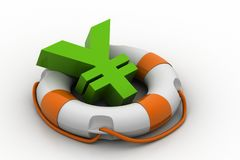 Currency sign with lifebuoy Stock Photo