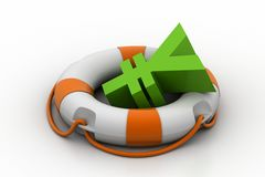 Currency sign with lifebuoy Royalty Free Stock Photo