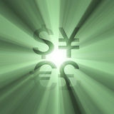Currency sign money green light flare Royalty Free Stock Photos