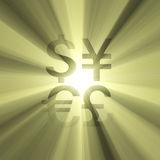 Currency sign money sun light flare Stock Photography