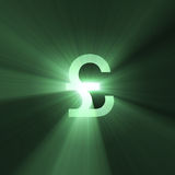 Currency sign Pound shining light flare Royalty Free Stock Photo