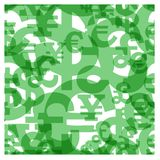 Currency sign seamless. Seamless pattern consisting of currency sign: dollar, pound sterling, euro, yens. Without use of effect of a transparency Stock Photo