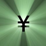 Currency sign Yen money flare. Currency symbol Yen with powerful money green light flares. Extended flares for the flexibilities of cropping Stock Image