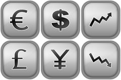 Currency signs. Set of silver buttons with currency signs Stock Photo
