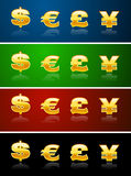 Currency signs. Golden currency signs on different backgrounds Stock Photos